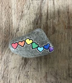 Rainbow Hearts Hand Painted Rock/love/colorful/rock art
