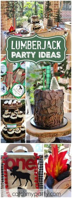 How fun is this lumberjack theme for a first birthday! See more party ideas at CatchMyParty.com!