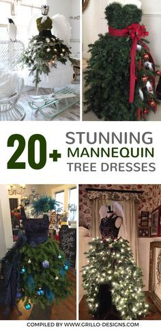 Replace traditional trees with these stunning DIY mannequin tree dress forms. They can be styled to fit any season or room in your house! All of these tree dresses are shared by members of the Grillo Designs Home and DIY Facebook Group