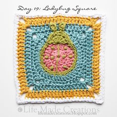 Day 19: Ladybug Square block free crochet pattern on Life Made Creations at http://lifemadecreations.blogspot.com/2011_05_01_archive.html
