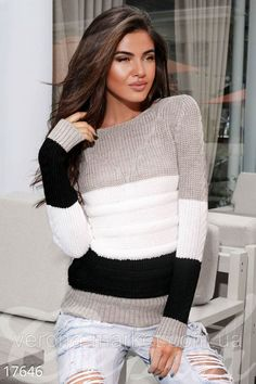 Discover thousands of images about Warm striped sweater photo 1 Mens Knit Sweater Pattern, Mohair Sweater, Sweater Knitting Patterns, Knitting Designs, Knit Fashion, Sweater Fashion, Cardigans For Women, T Shirts For Women, Stylish Hoodies