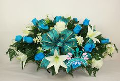 XL Beautiful Featuring Lilies and Roses  Cemetery Tombstone Saddle by Crazyboutdeco on Etsy