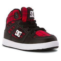 DC Shoes Kids' Rebound SE Elastic High Top Sneaker Toddler | Boys' - Black/Red Plaid.
