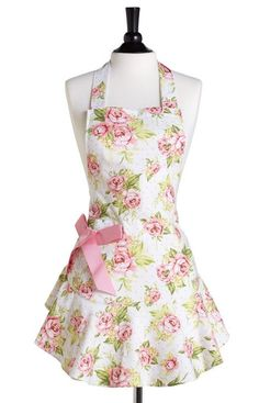 Pink Cottage Rose Apron ღ... So cute! This would look better as a dress, for sure. :)