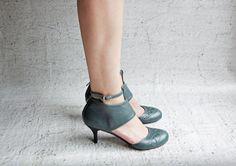 idil - Petrol - Kısa topuklu bayan ayakkabısı