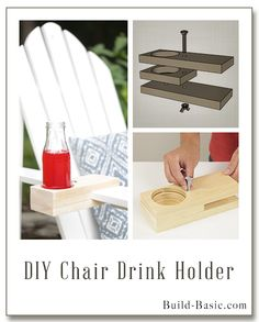 Grab a scrap piece of and assemble this simple drink holder in under 15 minutes! With an adjustable wing nut, the holder can clamp onto the arm of just about any chair, or onto a de… Outdoor Furniture Plans, Diy Pallet Furniture, Dining Chair Makeover, Ikea, Drink Holder, Diy Chair, Round Mirrors, Wood Projects, Sewing Projects