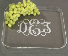 Monogrammed Acrylic Medium Snack Trays