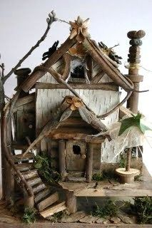 architecture from HAUTE NATURE - fairy houses and fairy furniture - tå√ Fairy Garden Houses, Gnome Garden, Fairies Garden, Diy Fairy House, Fairy Houses Kids, Doll Houses, Fairy Village, Fairy Furniture, Furniture Design