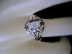 Sweet Opal Swirl Ring Sterling Silver by GriffinsNestJewelry, $68.78