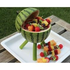 "Creativity turned this watermelon to a mini ""fruit-que"" stand! pic via @nosuprisesevents #watermelon #creative #inspiration #diy #yummy #fruits"
