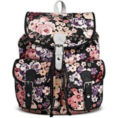 Women's Pink Floral Print Backpack Handbag