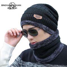 US  6.00 - 8.60 BINGYUANHAOXUAN 2017 Men Warm Hats Cap Scarf Winter Wool Hat  Knitting for 82f166191126