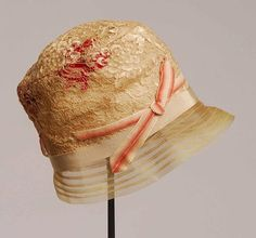 1920s Pale Pink Lace over Red Petals Horsehair Helmet Cloche Hat/ Gloves - item 716, Hats