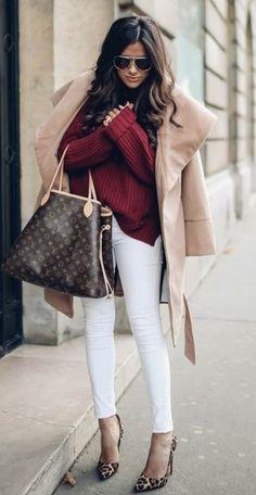 Bordeaux Knit + White Skinny Jeans                                                                             Source