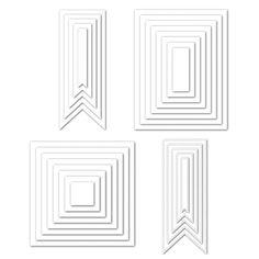 Bundle of Basic Dies from Simon Says Stamp including Basic Rectanges (SSSD111603), Basic Squares (SSSD111602), Basic Banners (SSSD111585), Stitched Banners (SSSD111584)