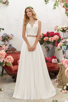 6856 Designer Wedding Dresses and Bridal Gowns by Morilee. This Two-Piece Boho Wedding Gown Features a Crystal Beaded, Embroidered Bodice with Net Skirt. 2 Piece Wedding Dress, Bridal Wedding Dresses, Wedding Dress Styles, Designer Wedding Dresses, Bridesmaid Dresses, Boho Wedding, 2 Piece Bridesmaid Dress, Bohemian Weddings, 2017 Bridal