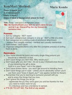 "Konmari Method Infographic - Marie Kondo - ""The Life-Changing Magic of Tidying…"