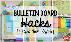 I love bulletin boards. well, maybe it's a love/hate relationship. So, here are a few bulletin board hacks to help save your sanity. Classroom Hacks, Classroom Displays, Kindergarten Classroom, Future Classroom, Classroom Decor, Library Displays, Classroom Design, Door Displays, Preschool Bulletin