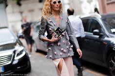 amazing blazer. #ElinaHalimi in Milan.
