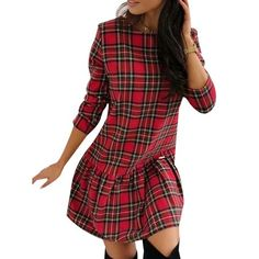 Plaid Outfits, Plaid Dress, Christmas Dress Women, Mini, Casual Dresses, Dresses With Sleeves, Clothes For Women, Type, Red Plaid