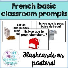 French basic classroom prompt posters Posters to use in your French classroom! Includes: ♦ 31 classroom prompt posters ♦ Can print to use as flashcards ♦ Email me if there is anything that I can add to this file for French Language Learning, Learning Spanish, Spanish Language, Spanish Activities, Dual Language, Learning Italian, German Language, French Teacher, Teaching French