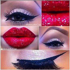 Glitter Makeup Look Christmas Red Silver Stunning