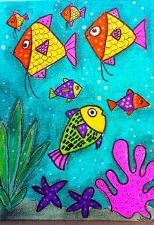 Fish, ocean, watercolor