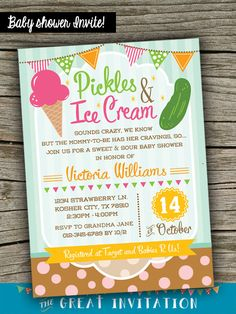 Pickles and Ice Cream Baby Shower Invitation / Pickles and Icecream Invite / Pickles & Ice Cream Babyshower Celebration