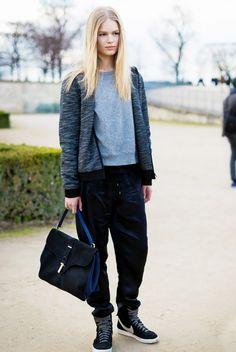 Hoodie + Slouchy Pants + Luxe Satchel = Comfortable, Yet Chic   How To Pull Off Tomboy Style Without Looking Like A Dude