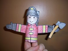 Firefighter toilet paper tube for Community Helper theme. There are more helpers through link in website