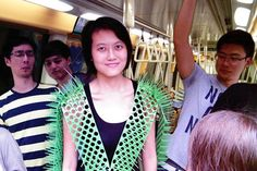 Designer makes Spike Away vest to avoid people in her personal space while on the train. You need this for Metro!