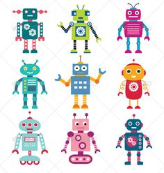 Robots vector set. - Characters Vectors