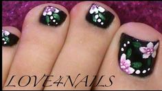 Black Toe Nails Flower Design by from Nail Art Gallery Black nail polish on toes-flower really stands out Toe Nail Flower Designs, Toenail Art Designs, Pedicure Designs, Pedicure Nail Art, Toe Nail Art, Nail Art Diy, Diy Nails, Pink Pedicure, Black Toe Nails