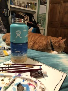 Not stickers but super cute Water Bottle Art, Hydro Flask Water Bottle, Cute Water Bottles, Best Water Bottle, Water Bottle Design, Hydro Flask Stickers, Cute Cups, Stay Hydrated, Bottle Painting
