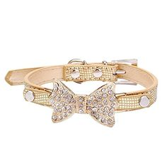 Neonr the Crystal Rhinestone Bowknot Pet Fashion Collar with PU Material for Female Yorkie Puppies Dogs Cats Shiny with Adjustable BuckleGolden * Click on the image for additional details.