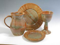 Communion set of 4 pieces in reddish brown by TamarackStoneware