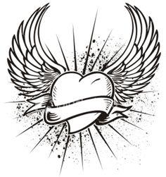 love heart with wings tattoo Heart Tattoo Design Picture 26 Four Heart With Win. Heart With Wings Tattoo, Simple Heart Tattoos, Heart Wings, Angel Heart, Tattoo Simple, Stencils Tatuagem, Tattoo Stencils, Kunst Tattoos, Bild Tattoos