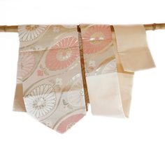 Vintage Japanese Pink and Gold Floral Obi, Table Runner, Home Decor by CJSTonbo on Etsy