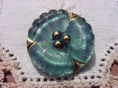 Metallic Teal Pansy Czech Glass Button