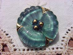Metallic Teal Pansy Czech Glass Button