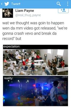 When we're talking about breaking the record 100% of directioners are here. When the video comes out 98% of directioners are gone. What even