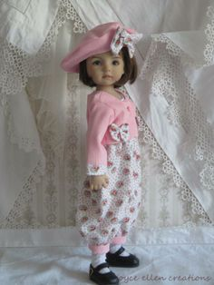 "13"" Effner Little Darling BJD pink & shabby rompers set OOAK handmade set by JEC"