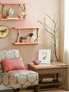Birch Perch  Create shelves with panache using birch logs as supports. Trim sturdy branches to equal lengths, keeping the cuts straight. Paint two 24-inch-long 1x6 boards in the desired color. Attach one board to the bottom of the branches using wood screws, and attach the second board to the top of the branches, again, with wood screws. Hang the shelves using picture-hanging hooks driven into wall studs.