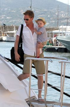 Neil Patrick Harris and his partner David Burtka with their twins, sighting in Saint Tropez.