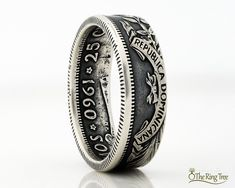 Two Shillings Coin Ring Coin Jewelry Powder Coated Finish Great Britain Florin