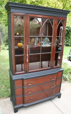 1940's hutch Black and Mahogany Hutch China Cabinet by RootsWingsFurniture