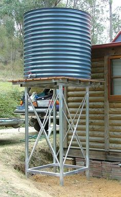Collection of Ways To Catch Refreshing Rainwater – The Homestead Survival Water Collection System, Water Catchment, Rain Catchment System, Tank Stand, Rainwater Harvesting, Water Storage, Homestead Survival, Survival Skills, Water Tower