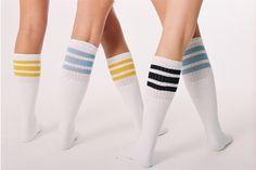 Baby Pink, Gold, Gold Striped White Tube Socks from www.SkaterSocks.com