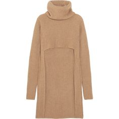 BalmainCutout Ribbed Wool Turtleneck Sweater (€1.065) ❤ liked on Polyvore featuring tops, sweaters, ribbed turtleneck, cropped sweater, beige sweater, thick wool sweater and ribbed sweater