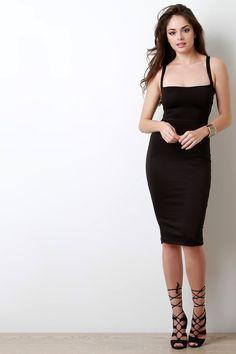 Square Neck Strappy Back Bodycon Dress
